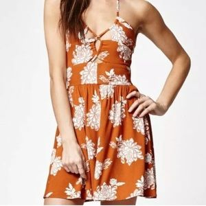 Kendall & Kylie Halter Floral Mini Dress Lace Up